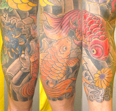 金魚と菊の刺青 右カイナ九部