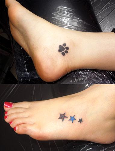 三ツ星と犬の足跡のタトゥー